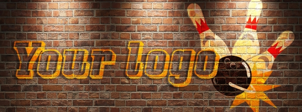 Brick wall with your logo - Bowling Alley Design